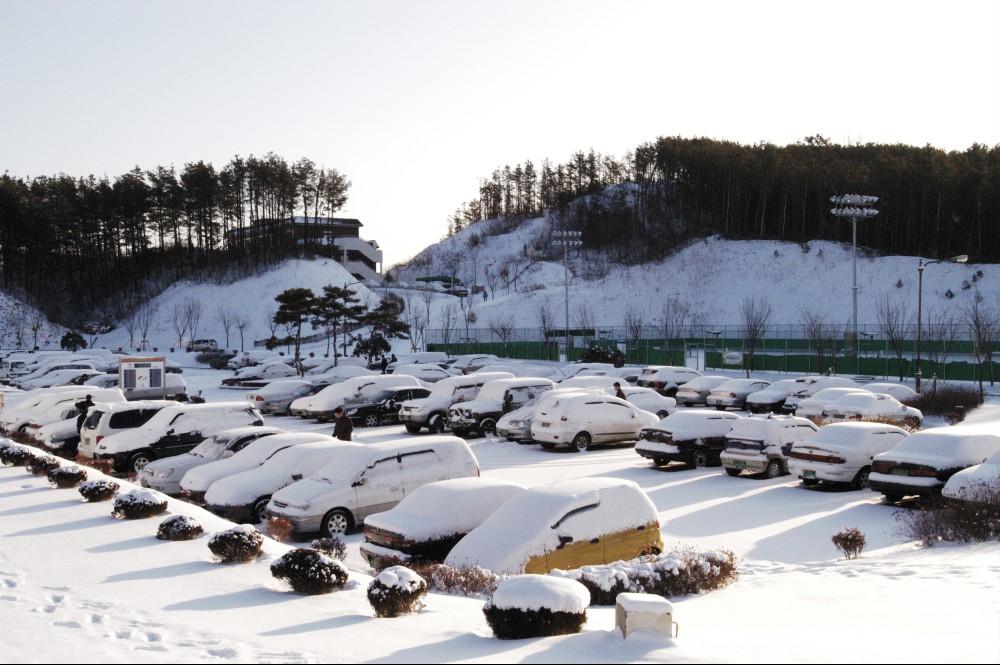 교육원 주차장의 겨울풍경